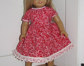 """Red Swirl Print Short Sleeved Dress for an 18"""" Doll with Lace Hem & Ric Rac"""