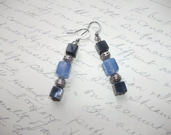 Black and blue glass cube earrings