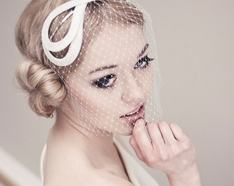 Modern headband with french, wedding headpiece, wedding fascinator, modern wedding piece