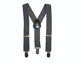 Dark Grey Boys Suspenders, Grey, Charcoal Suspenders, Charcoal Boys suspenders, Kids,Baby, Toddler Suspenders, braces, ring bearer