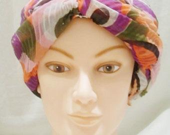 Vintage Turban. Pink multi colour.