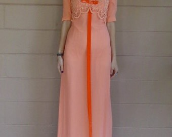 Vintage 60's Evening Gown  / Lace Overlay Bow  / Empire Waist / Sherbert / Small