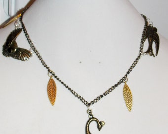 Steampunk Vintage Bird Charm and Feather Necklace