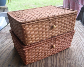 an adorable set of two EMPTY Rattan Boxes for jewelry etc