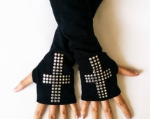 Black Gothic Arm warmers Emo Fingerless Gloves with Shiny Cross