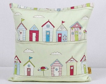 16x16, pillow, Decorative throw cover, Beach huts, throw pillow, coastal cover, nautical pillow cover, maritime, pinks, blue, red, handmade