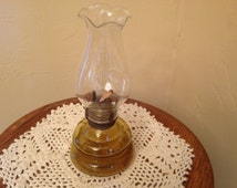 "Vintage Hurricane Oil Lamp Amber Glass Medium Sized Oil Lamp - 8"" tall Patio Lighting"
