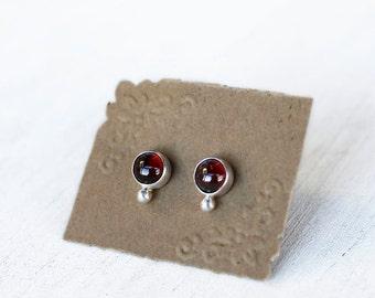 Sterling Silver, Almandine Garnet Cabochon Stud Earrings. Garnet Post Earrings. January Birthstone Earrings. Birthstone Jewelry.