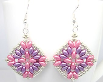 Pink and purple super duo earrings, pink earrings, lilac earrings, superduo earrings, pink and silver, purple and silver, ER006