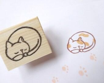 Sleeping cat stamp, Lazy cat, Cat lovers, Animal stamp kawaii, Japanese stationery