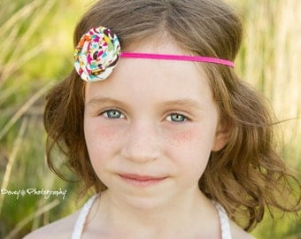 Baby Headband Simple - Hot Pink Multi Color Rolled Rosette - Gift or Photo Prop - Newborn Infant Toddler Girl Adult Spring Summer