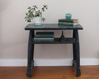 Vintage Table - Black  Green  Blue Chippy Paint - Shelf - Shabby Chic - Rustic Modern - End Table - Book Shelf - Two Tiered