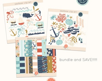 Nautical Digital Clip Art - Commercial Use - 43 Hand Drawn Illustrations and 18 Digital Papers