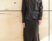 Black Linen Pants/ Extravagant Drop Crotch Black Pants/ Loose Linen Trousers/ Stylish Harem Pants by AryaSense / PLN13BL