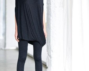 Charcoal Melange Drape Dress/ Loose Casual Tunic Top/ Drape Top/ Sleeveless Tunic Top by Arya Sense/ DFRKR14BM