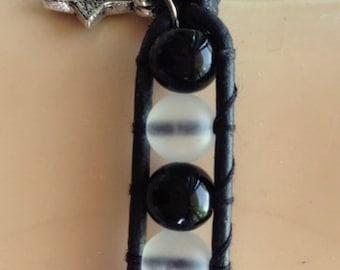 Wrap Bracelet  - Black and White  Single Wrap