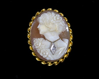 Vintage Cameo Brooch, Amco 10k Yellow Gold, Hand Carved from Shell with Diamond