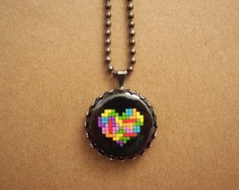 Tetris heart necklace