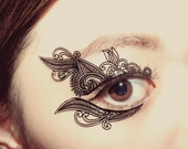 Temporary Tattoo Christmas holiday stocking stuffer Makeup Applique Venetian Lace Mask Victorian bridesmaid Masquerade Gothic New Year Gift
