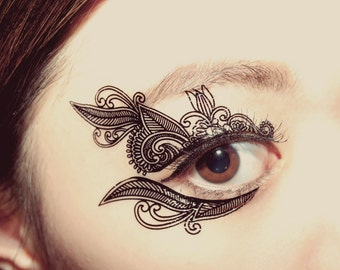 Temporary Tattoo Makeup Applique Venetian Lace Mask Victorian bridesmaid Masquerade Gothic Christmas costume assesories Stocking Stuffer