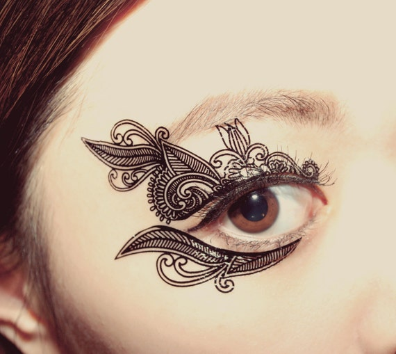 Mehndi Eye Tattoo : Temporary tattoo makeup applique venetian lace mask victorian