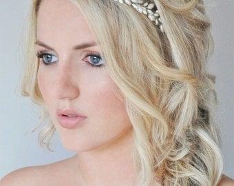 Pearl Bridal Hair Vine, Pearl Bridal Headband, Grecian Bridal Halo, Rice Pearl Wedding Hair Piece, Grecian Hair Vine, Wedding Hair Vine