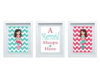 A Mermaid Sleeps Here Wall Art Girls Bedroom Decor Wall Art Mermaid Wall Art Quote Girl Bedroom Art Set of 3-8X10 Prints Chevron Decor