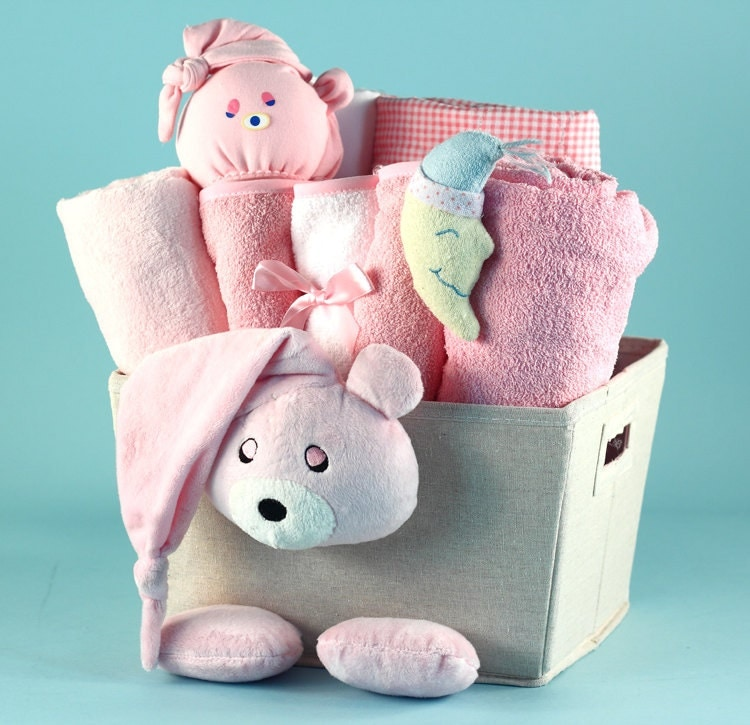 Baby Gift Basket Etsy : Bear plush baby gift basket by sillyphillie on etsy