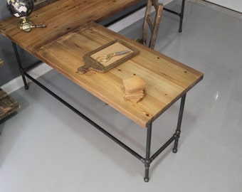 Reclaimed Wood  L Shaped Desk, Wood Desk, Pipe Desk, Reclaimed Wood