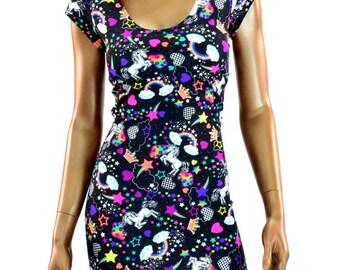 UV Glow Rainbows & Unicorns Print Lycra Spandex Bodycon Clubwear Dress with Scoop Neckline and Cap Sleeves   -E8228