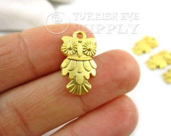 5 pc Owl Pendant 22K Gold Plated Turkish Jewelry, Turkish Findings