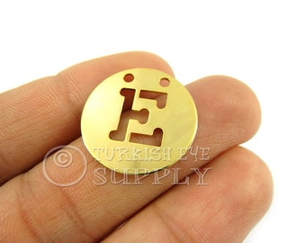1 pc Letter E,  Gold Plated A-Z Necklace Initial Charm Personalized Round Metal Disc Monogram Letter Alphabet Letters Initial Charm