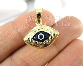 1 pc Gold Eye Shaped Evil Eye Pendant, Navy Glass Evil Eye Charm, 22K Gold Plated Turkish Jewelry