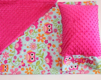 Nap Mat Cover - Owls - Pink - Orange - Lime Green - Choose Your Colors - Kindermat - Back To School - Pillowcase - Blanket - Minky