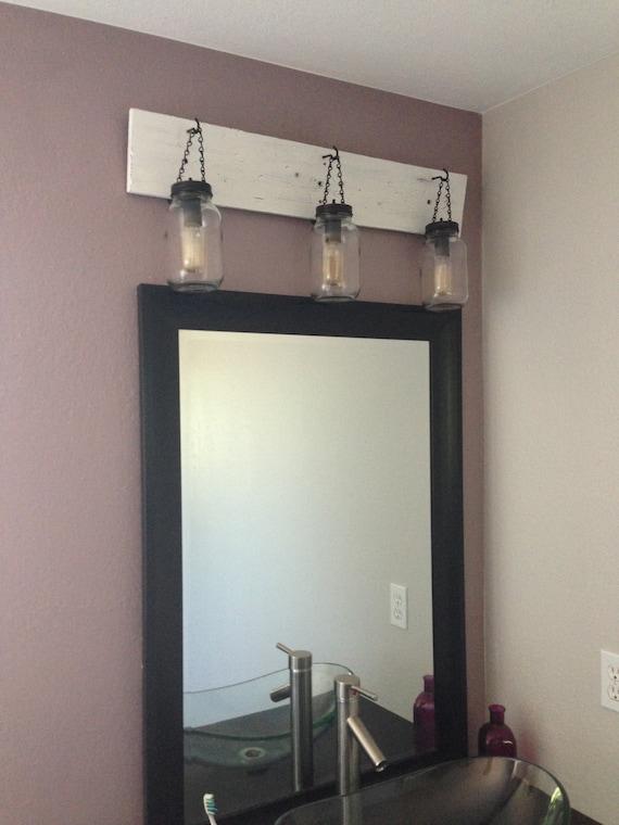 Vanity Lights Etsy : Rustic Mason Jar vanity light by WineCountryLights on Etsy