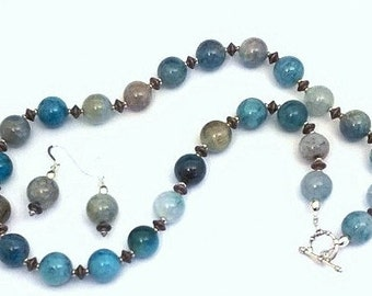 Blue Crazy Lace Agate Necklace & Earrings