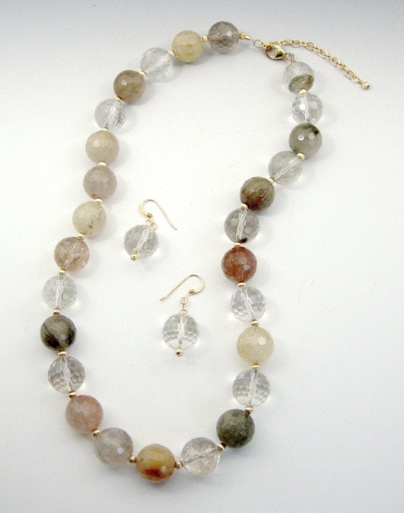 Rutilated Quartz Necklace & Earrings