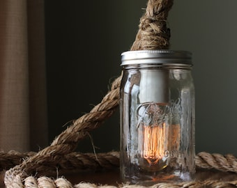 Rustic Ball Mason Jar Lamp Light w/ Edison bulb - Barn Nautical Industrial Chic - Wedding