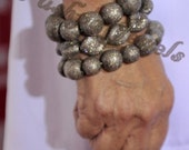 MRP- USD 24000 Vintage Look 32.30 ctw Pave Diamond Sterling silver stretch Round Bead Bracelet