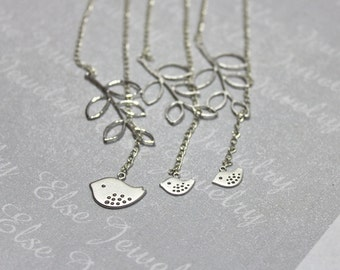 Bird Lariat Necklace Set 2,3,4,5-Mother Daughter Neckalce .Sisters Jewelry ,Best Friends Necklace,Sparrow,Matching Jewelry,Family Presents