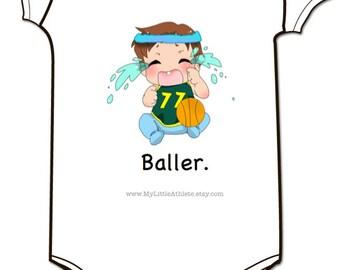 Baby Basketball Onesie - Baller Baby Clothing - Bball Baby Clothes - Baller - Baby Boys and Baby Girls
