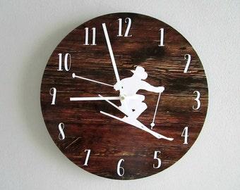 Skier Wall Clock - Ski Lodge Wall Decor - Downhill Skiing Rustic Wall Clock - Rustic Wall Decor - Unique Wall Clock - Cowboy Decor