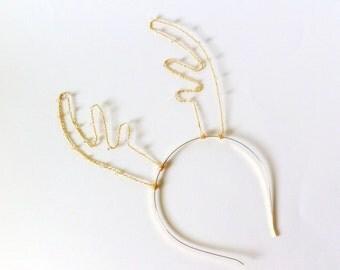 Gold Crystal Reindeer Antler Headband, Rudolf Antlers With Swarovski Elements, Wire Deer Ears, Christmas Hair Band