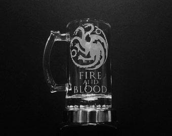 House Targaryen Mug - FIRE AND BLOOD - Game of Thrones Mug - House of Targaryen Beer Mug - House Targaryen Crest - Targaryen Sigil