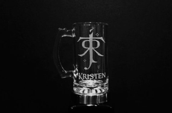 Personalized Lord of the Rings Mug - JRR Tolkien Logo Mug - Custom Etched Lord of the Rings Beer Mug - LOTR, LOTR Gift - Tolkien Mug
