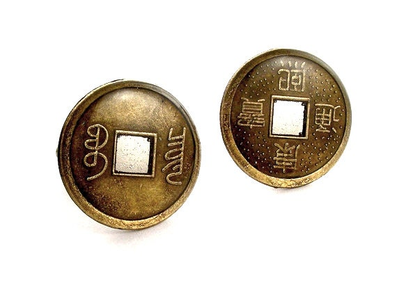 zen cufflinks chinese coin cufflinks silver backs feng shui. Black Bedroom Furniture Sets. Home Design Ideas