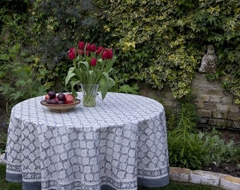 Block printed TABLECLOTH ROUND - Ash grey small paisley pattern