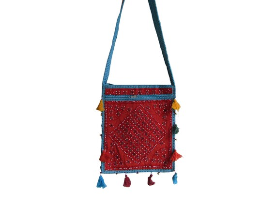 Mirrorwork Embroidery, Sling Bag, Indian HandBag, Turquoise, Tassel Hangings, Traditional Tote, Ethnic Hobo, Gift For her, Christmas Gift,
