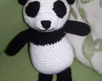 Stuffed Panda Bear-Crocheted in black and white