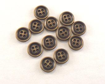 12 - 12 mm Cast Metal Buttons -Antique Brass Tone 4 Hole Buttons - Metal Jewelry Buttons - Sewing Buttons  #GM-13-25